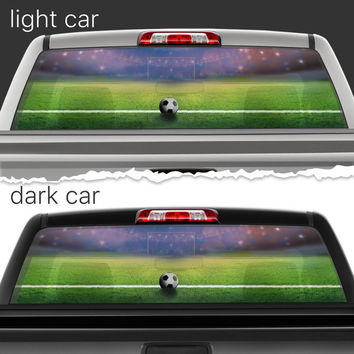 Perforated Vinyl Decal Rear Window Car Soccer Ball Football Field N125 FRST