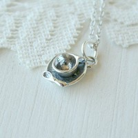 Cup Of Tea sterling silver necklace by TwoLittleDoves