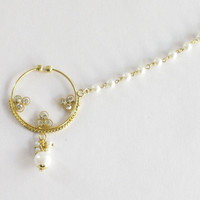 Gold pearl nose ring hoop chain nath