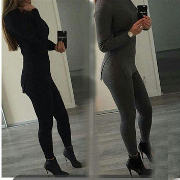 Black Long Sleeve Top and Leggings