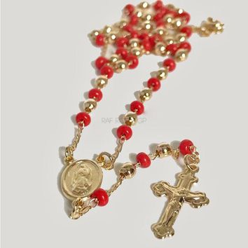 Red Beads 3mm Beads Rosary 18Kts Of Gold Plated