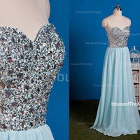 Sweetheart beading A-line long prom dresses blue evening dress long evening dress