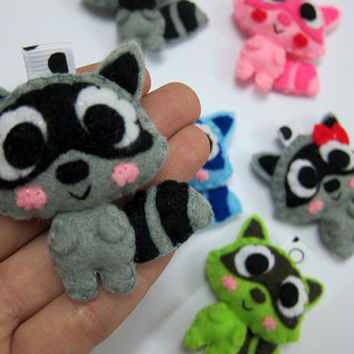 Cute Raccoon Keychain, Ornament, Magnet - Luke, Hazel, Gabby
