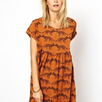 ASOS Smock Dress In Baby Fox Print