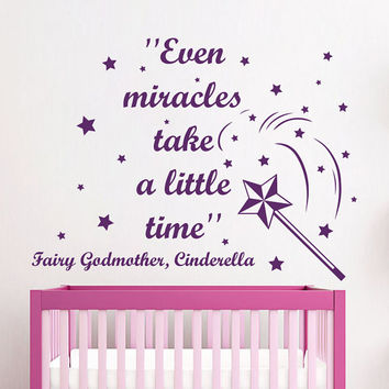 Cinderella Wall Decals Quote Even Miracles Take A Little Time Vinyl Decal Sticker Bedroom Interior Design Art Mural Girl Nursery Decor MR351