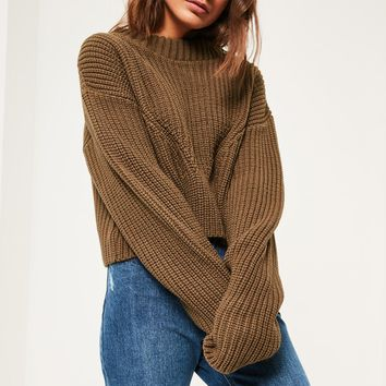 Missguided - Brown High Neck Ribbed Jumper