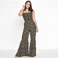 Secret Escape Floral Jumpsuit in Black