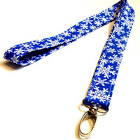 Snowflake Blues Winter Fabric Lanyard Womens or Mens Fabric Keychain Fabric ID or Badge Holder Girls Holiday Stocking Stuffer Gift Key Fob