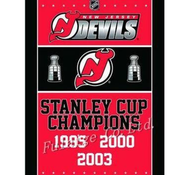 DCCKU3N Jersey Devils Stanley Cup Champions Flag 3ft x 5ft Polyester NHL Banner Flying Size 90