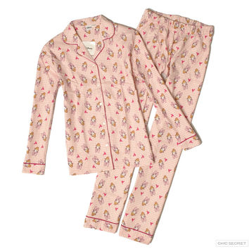Hot sale Autumn cartoon printing lovely womens pajamas sets 100% cotton flannel fabric long sleeve simple homewear for ladies