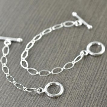 Sterling silver necklace extensions for toggle clasp, in 2-4 inches