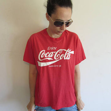 Vintage 70s Distressed Screen Stars Soft Thin Red Enjoy Coca Cola T Shirt