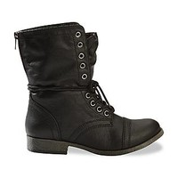 Bongo Women's Estie Black Fold-Over Medium and Wide Combat Boot
