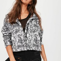 Missguided - Grey Snake Print Crop Rain Mac Jacket
