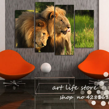 Hot Selling Animal Picture Lover Lions 4 Panel Wall Hanging