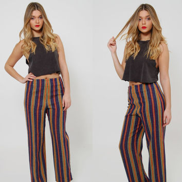 Vintage 60s STRIPED Pants Relaxed WOOL Trousers Mod RAINBOW Stripe Crop Pants High Waisted Pants