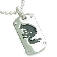 Amulet Brave Black Wolf Protection Steel Dog Tag Pendant 18 Inch Necklace