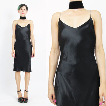 90s Black Slip Dress Vintage Black Satin Slip Dress Minimalist Sexy Rhinestone Shoulder Straps Sexy Black Dress V Neck Body Con (XS/S)