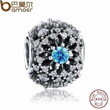 100% Pure 925 Sterling Silver Cinderella's Wish Blue Crystal Beads Charm fit original Bracelets Jewelry Accessories PAS179