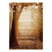 Rustic Country Tree String Lights Bridal Shower Card