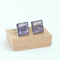 Nerdy accessories Circuit board Cuff links Geekery lilac squares recycled computer l3820 ready to ship