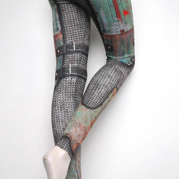 Armour Leggings - Size XXXL Green - Printed Chainmail and Metal Tights - Warrior in Armor