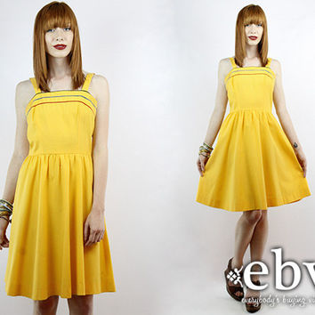 Vintage 70s Yellow Babydoll Dress XS S Yellow Dress Summer Dress 70s Sundress Vintage Sundress Yellow Sundress