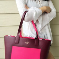 NWT kate spade new york jones street posey colorblock tote bag mulled berry pink
