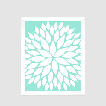 White Flower Blossom on Mint Print  flower CUSTOM COLORS modern nursery decor art baby room floral decor print modern floral art print 8x10