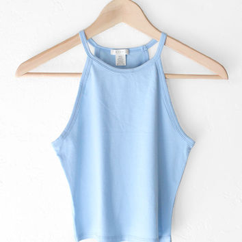 Sleeveless Crop Top - Light Blue