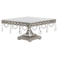 Vintage Crystal-Draped Square Wedding Cake Stand (Silver)