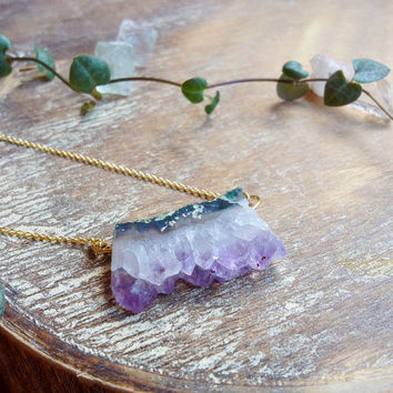 Purple Amethyst Druzy Necklace, Raw Crystal Pendant 14K Gold Filled chain. Drusy Quartz Jewelry, February Birthstone Druzy bohemian necklace