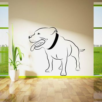 STAFFORDSHIRE BULL TERRIER DOG WALL ART vinyl room sticker decal animal theme Lovly Dog Wall Decals Bedroom Wallpaper Mural D388