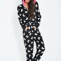FOREVER 21 Cat Print Plush PJ Onesuit Black/White