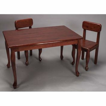Gift Mark 3001C Rectangle Queen Anne Table and Two Chair Set - Cherry