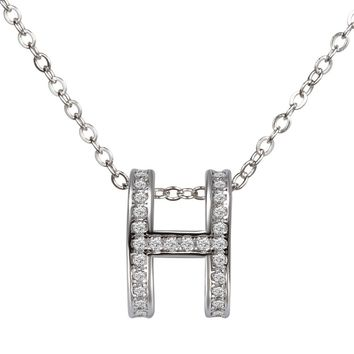 Eulonvan 925 Sterling Silver H Chokers Chain Necklace Clear Cubic Zirconia Female Jewelry Collares For Women Accessories SY0975