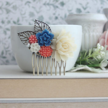 Ivory Rose, Cobalt Blue, Coral Flower, Leaf Comb, Bridesmaids Gift, Rustic Wedding, Coral and Blue Wedding, Country Barn Wedding, Boho, Sis
