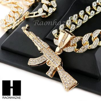 "Hip Hop 14k Gold Plated AK47 GUN Pave Pendant 30"" Iced Out Cuban Link Chain N09"