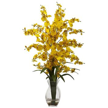 Silk Flowers -Dancing Lady Orchid With Vase Artificial Plant