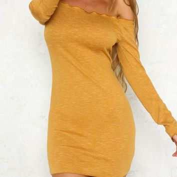 Ginger Yellow Ruffle Boat Neck Long Sleeve Sweet Mini Dress