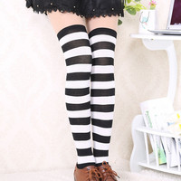 New Hot Stripes Over the Knee Black White Thigh High Stretchy Socks 60cm*23.6""