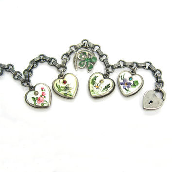 Charm Bracelet. Puffy Heart Charms. Walter Lampl. Birthstone Charms. Enamel Jewelry. Sterling Silver Padlock. Vintage 1940s Jewelry