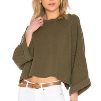 Free People I Can't Wait Sweater in Moss