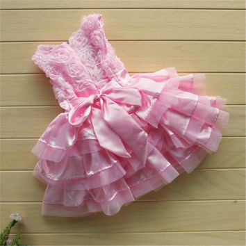 Novelty Rose Pink Silk Flower Newborn Toddler Baby Kids Girls sleeveless Party Fancy Cotton headband Cake Dresses One-pieces