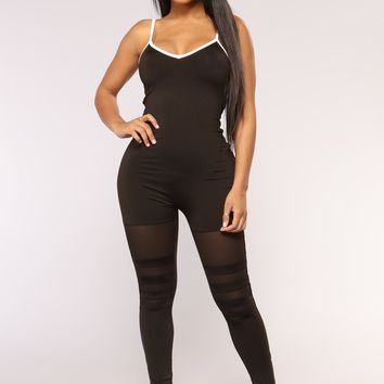 Be My Babe Athleisure Jumpsuit - Black