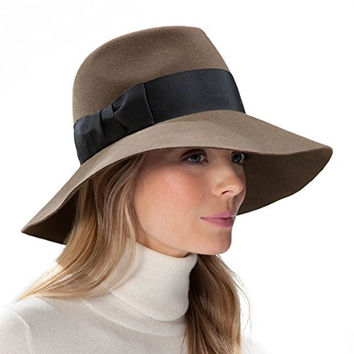 Eric Javits Women's Hat Luxury Headwear Tiffany Fedora in Putty