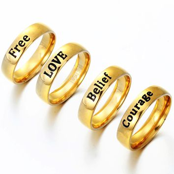 Factory Direct Engraved Titanium Stainless Steel Prayer Letter Rings The One Lord Rings