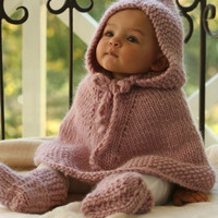 Toddler Poncho Girl Coat. Children clothing Handmade poncho with hood 12 to 18 months made of wool. Baby Shower. Colorado USA