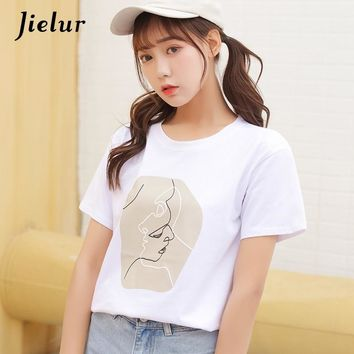 Jielur Abstract Portrait Printed Summer T shirt Harajuku White Women Tops 2018 S-XL Simple Basic Female T-shirt Dropshiping