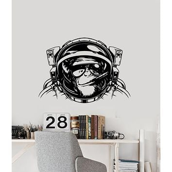 Vinyl Wall Decal Astronaut Space Monkey With Cigar Animal Sunglasses Stickers (3227ig)